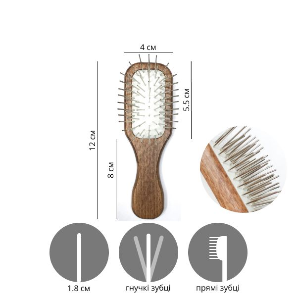 Щетка для маленьких собак Mini Wooden Pin Brush 12 см