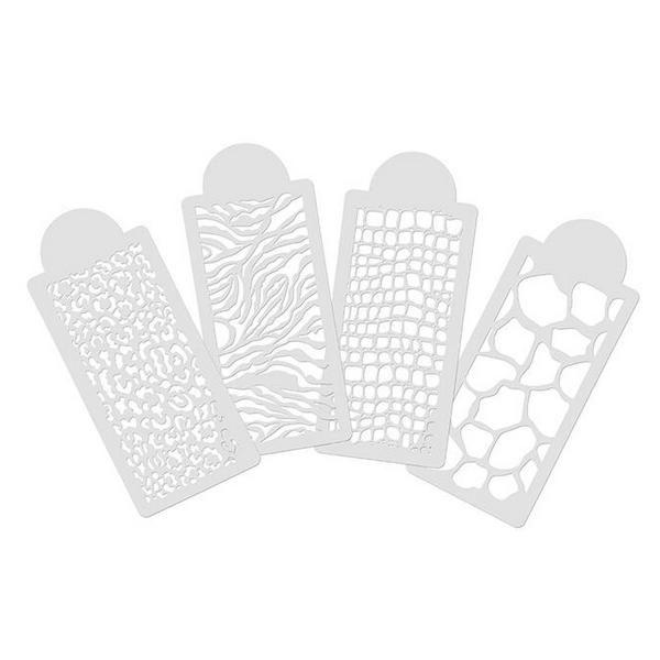 Пластиковый трафарет для грум тату Opawz Animal prints 4 шт.